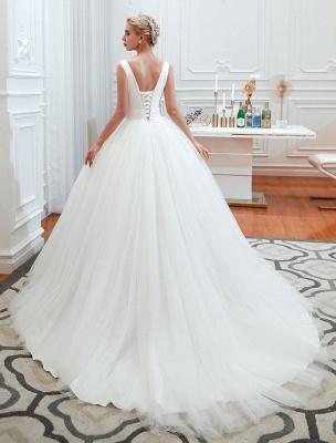 Princess Wedding Dress 2021 Ball Gown V Neck Sleeveless Natural Waist Court Train Bridal Gowns_7