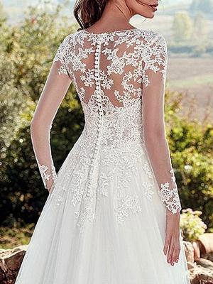 Wedding Dress 2021 V Nevk A Line Long Sleeve Floor Length Lace Applique Tulle Bridal Dresses With Train_4