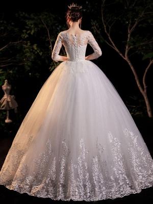 Simple Wedding Dress Eric White Ball Gown Jewel Neck Half Sleeves Applique Long Bridal Dresses_2