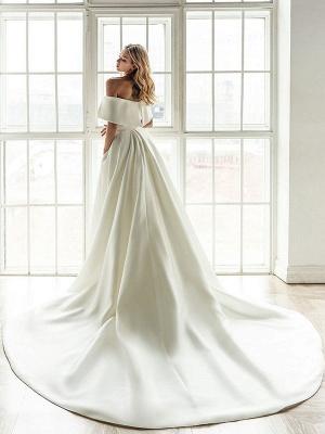Weißes Vintage Brautkleid mit Zug Satin Schulterfrei Brautkleid Plissee Meerjungfrau Brautkleider_3