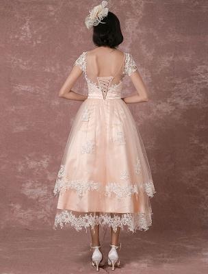 Wedding Dress Short Vintage Bridal Dress Backless Illusion Lace Applique Tea-Length A-Line Reception Bridal Gown Exclusive_2