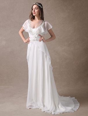 Glamorous Court Schleppe Elfenbein Brautkleid mit Perlenstickerei V-Ausschnitt Exklusiv_3