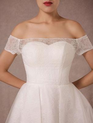 Kurzes Brautkleid Spitze Schulterfrei Mini A-Linie Vintage Brautkleid_7