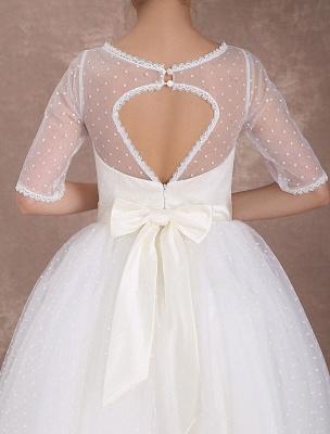 Vintage Brautkleid 50er Jahre kurzes Brautkleid Elfenbein rückenfrei Polka Dot halbe Ärmel Schatz Schleife Schärpe Weddig Empfangskleid exklusiv_8