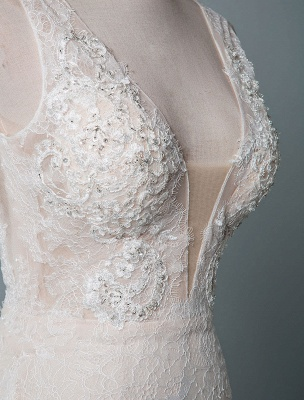 Simple Wedding Dress Lace A Line V Neck Sleeveless Beaded Floor Length Feather Bridal Gowns_5