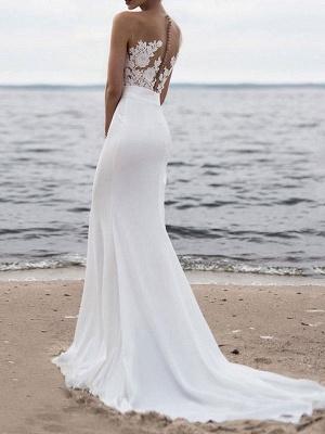 Wedding Dress 2021 Jewel Neck Sleeveless Mermaid Beach Wedding Bridal Gowns With Sweep Train_2
