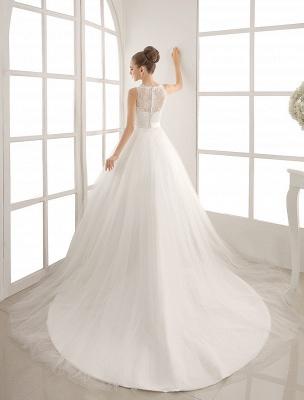 Bateau Neck Wedding Dress With Chapel Train_4