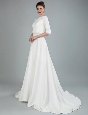 Einfache Hochzeitskleid Perlen Schärpe Rückenfrei Bateau-Ausschnitt Halbarm A-Linie Brautkleider Mit Hofzug Exklusiv_6