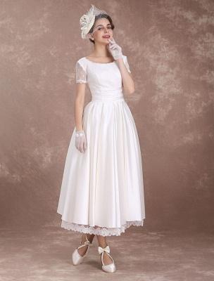 Vintage Wedding Dress Short Sleeve 1950'S Bridal Dress Backless Polka Dot Lace Trim Ivory Wedding Reception Dress Exclusive_3