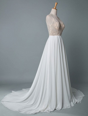 Simple Wedding Dress A Line V Neck Sleeveless Embroidered Chiffon Bridal Dresses With Train_2