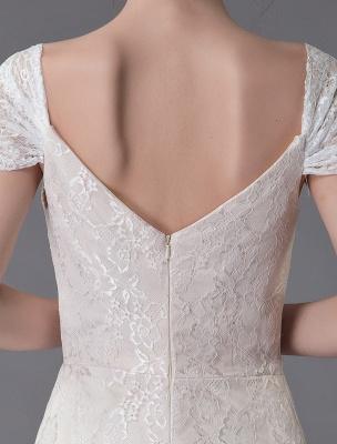 Robe de mariée en dentelle crème vanille chérie robe de mariée à manches courtes robe de mariée sirène avec train exclusif_10