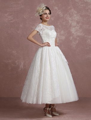 Princess Wedding Dress Lace Vintage Bridal Gown Sweetheart Illusion Short Sleeve Back Design Ball Gown Bridal Dress In Ankle Length Exclusive_7