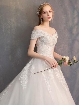 Ballkleid Prinzessin Brautkleider Elfenbein Spitze Perlenketten Schulterfrei Brautkleid_7