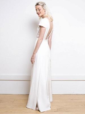 Weißes einfaches Hochzeitskleid Satin Stoff V-Ausschnitt Kurze Ärmel Rückenfrei Split Front A-Linie Lange Brautkleider_3