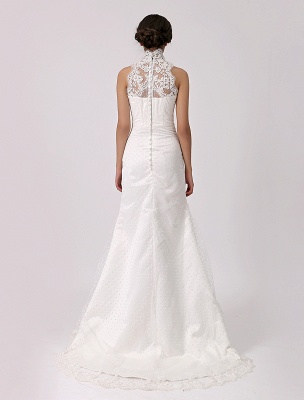 Vintage Inspired Illusion Neck Sheath/Column Wedding Dress With Lace Overlay Exclusive_5