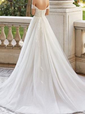 Brautkleid mit Zug V-Ausschnitt Ärmellos Schulterfrei Spitze Tüll Brautkleider_2