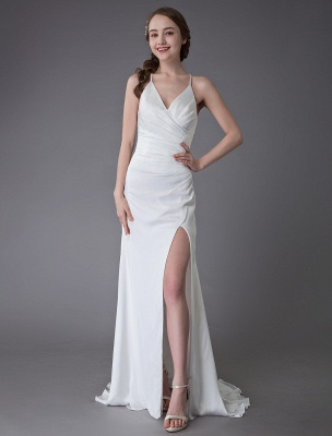 Beach Wedding Dresses Sexy Bridal Dress High Split Ivory Sheath Straps Summer Wedding Gowns Exclusive_1
