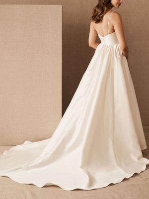 Simple Wedding Dress Satin V Neck Sleeveless Pockets A Line Bridal Gowns_4