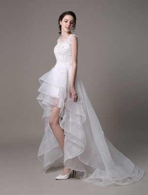 Asymmetrical Organza Wedding Dress High Low A-Line With Lace Beading Flower Exclusive_5