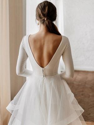 Weiße A-Linie Brautkleider Bodenlang Lange Ärmel Abgestufter V-Ausschnitt Natürliche Taille Bodenlange Brautkleider_6
