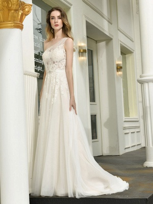 Bridal Dress 2021 One Shoulder Sleeveless Buttons Bridal Dresses With Train_2