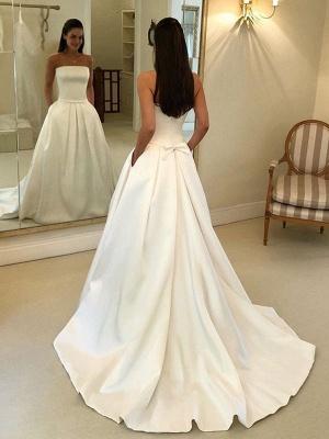 Vintage Brautkleider 2021 Satin Strapless A-Linie bodenlangen klassischen Brautkleid mit Zug_2