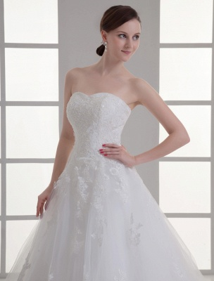 Vestido de novia de red de abalorios sin tirantes con cuello en color marfil_5