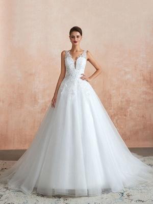 Wedding Dress 2021 V Neck Princess Sleeveless Floor Length Tulle Bridal Gown With Train_5