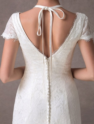 Lace Wedding Dresses Ivory V Neck Short Sleeve A Line Straps Bridal Gowns With Train Exclusive_9