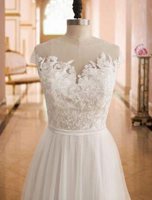 Boho Wedding Dresses 2021 Lace Off The Shoulder Short Sleeve Floor Length Split Front Bridal Dress With Train_5