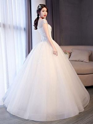 Princess Wedding Dresses Lace Beaded Ball Gowns Sleeveless Floor Length Bridal Dress_3