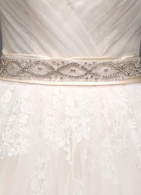 Tulle Cap Sleeves Keyhole Back Princess Wedding Dress With Bow And Rhinestone Sash_9