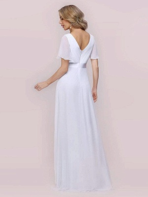 Simple Wedding Dress Chiffon V-Neck Short Sleeves Backless A-Line Long Bridal Gowns_9