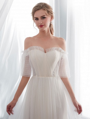 Ivory Wedding Dresses Off Shoulder Half Sleeve Tulle Beach Bridal Dress With Train_7