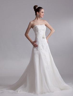 Elegant Ivory A-Line Strapless Rhinestone Tulle Bridal Wedding Dress_3
