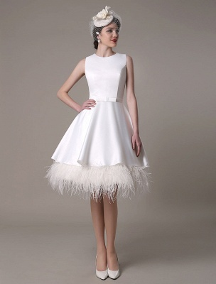 A-Line Wedding Dress Knee-Length Feather Tiered Satin Bow Bridal Dress Exclusive_3