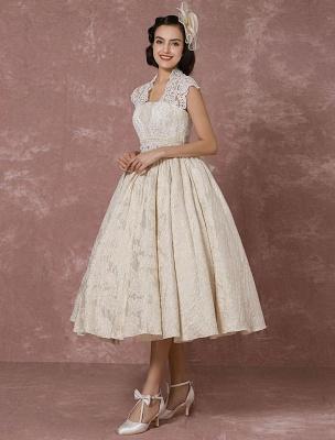 Kurzes Brautkleid Spitze Champagner Vintage Brautkleid Ballkleid Perlen Backless Tee-Länge Brautkleid Mit Schärpe Exklusiv_5