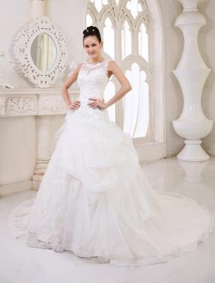 Elfenbeinfarbenes Duchesse-Linienkleid mit Juwelen-Ausschnitt und Pailletten Kapelle-Schleppe-Brautkleid exklusiv für die Braut_2