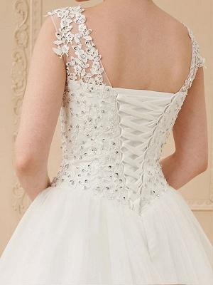 White Jewel Neck Sleeveless Soft Tulle Lace Up Floor Length Bride Dresses_6