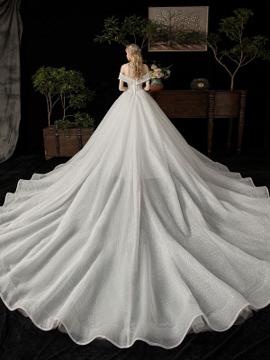 Ball Gown Wedding Dress 2021 Princess Silhouette Cathedral Train Off The-Shoulder Short Sleeves Natural Waist Beaded Sequined Bridal Dresses_2