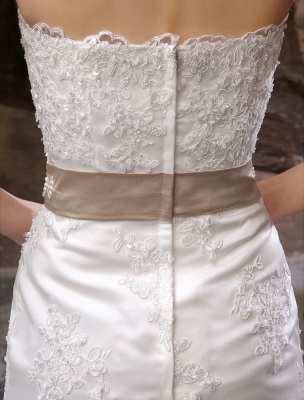 Wedding Dresses Mermaid Strapless Bridal Gown Lace Applique Beading Waist Sweetheart Neck Court Train Wedding Gown_7