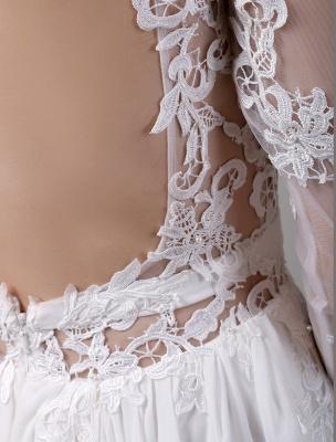 Boho Beach Sheer Lace Chiffon Tul Mangas largas Deep V Back Vestido de novia sin espalda_10