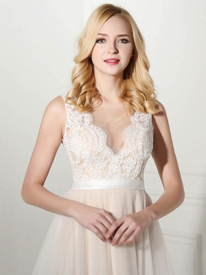 Simple Wedding Dress Tulle Jewel Neck Sleeveless Pearls A Line Bridal Gowns_5