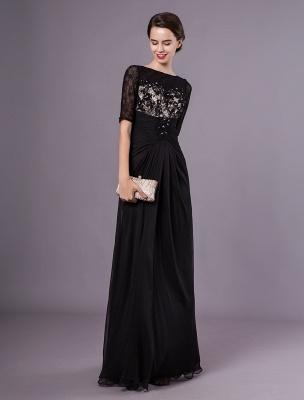 Schwarze Abendkleider Halbarm Spitze Perlen Chiffon Lange Abendkleider Hochzeitsgast Kleid_2