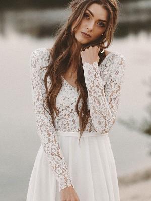 Einfache Hochzeitskleid A-Linie V-Ausschnitt Langarm Bodenlangen Chiffon Spitze Brautkleider_4