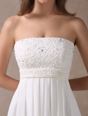 Beach Wedding Dresses Ivory Chiffon Strapless Lace Beaded Summer Bridal Gowns With Train Exclusive_6
