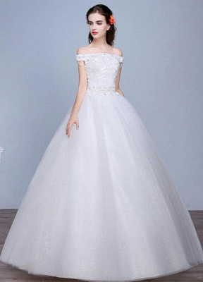 Lace Wedding Dress Off The Shoulder Floor Length Lace Up Applique Bridal Dress With Beads Sequins_1