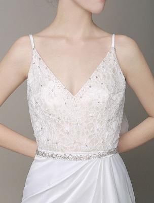 Satin Sheath Wedding Dress Plunging Neckline Bow Back Belt Lace Beading Evening Dress Exclusive_7