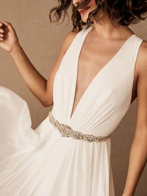 Wedding Dress Deep V-Neck Beaded Sash Chiffon Bridal Dress_4