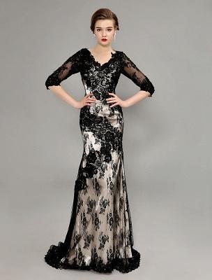 Black Wedding Dress Lace Mermaid V-Neck Dress With 3/4 Sleeves_1
